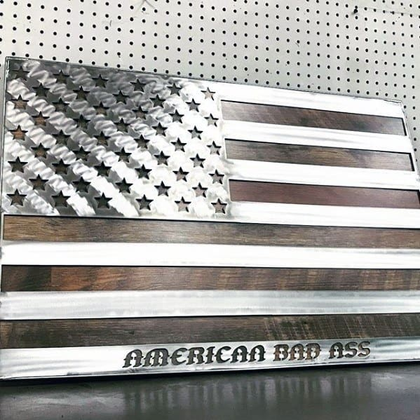Metal And Stained Wood Bachelor Pad Decor American Flag