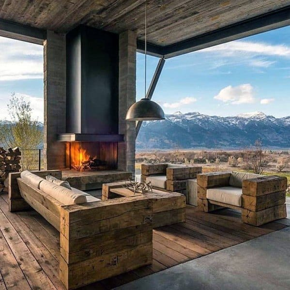 Metal And Stone Modern Rustic Covered Patio Design Ideas