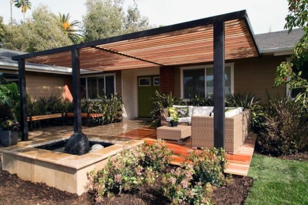 Metal And Wood Backyard Patio Deck Roof Ideas