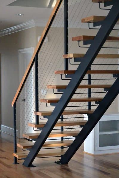 Metal And Wood Basement Stairs Cool Interior Ideas