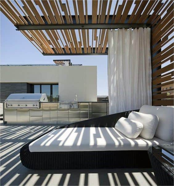 Metal And Wood Contemporary Pergola Ideas