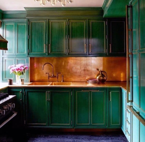 Metal Backsplash Ideas Copper With Green Cabinets
