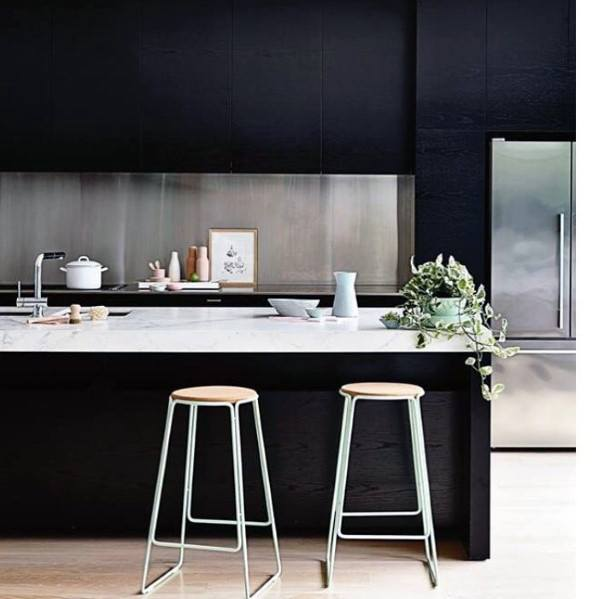 Metal Backsplashs Kitchen Ideas With Black Cabinets