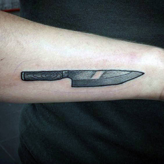 Metal Blade Chef Knife With Wood Handle Mens Arm Tattoos