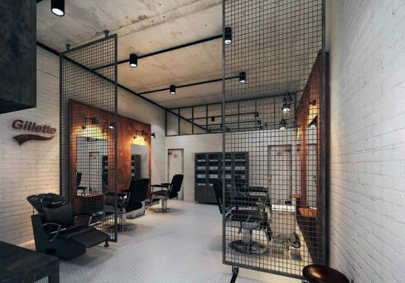 Metal Cage Industrial Themed Barber Shop Designs