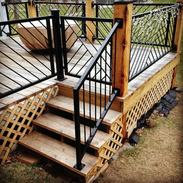 Metal Deck Railing Ideas With Hinged Gate