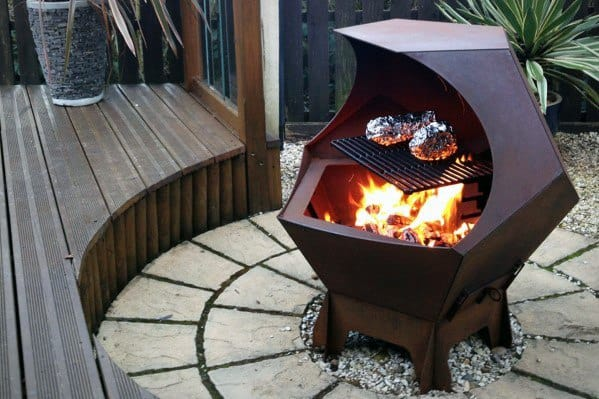Metal Fire Pit Grill Combination