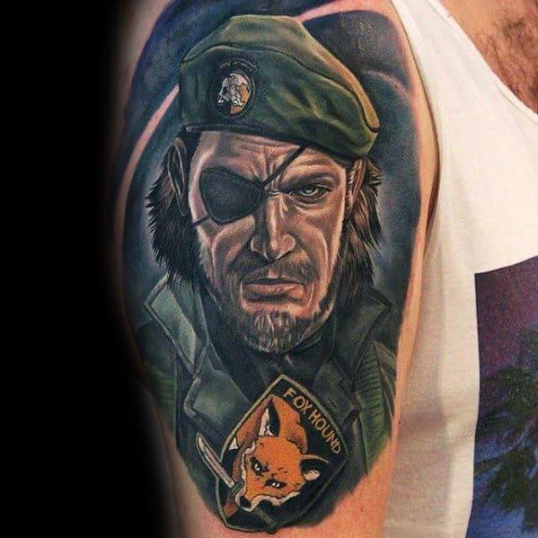 Metal Gear Mens Tattoo Ideas Arm Fox Hound From Video Game