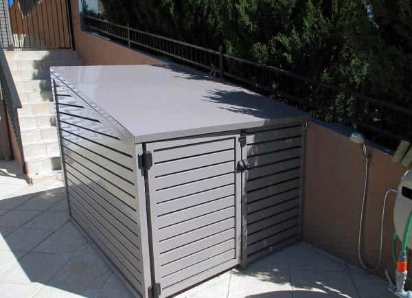 Metal Grey Painted Shed Pool Equipment Enclosure Ideas