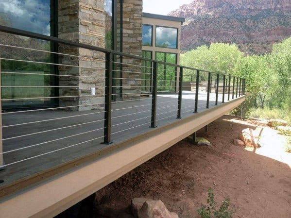 Metal Post With Steel Wire Wood Deck Railing