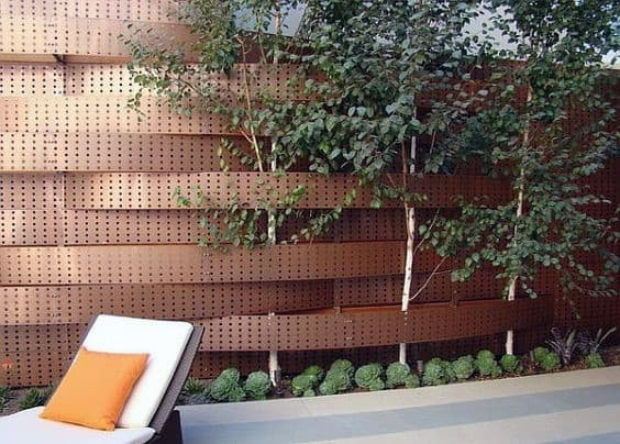 Metal Rivet Modern Backyard Ideas Privacy Fence