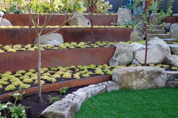 Metal Steel Retaining Wall Slope Landscaping Contemporary Ideas