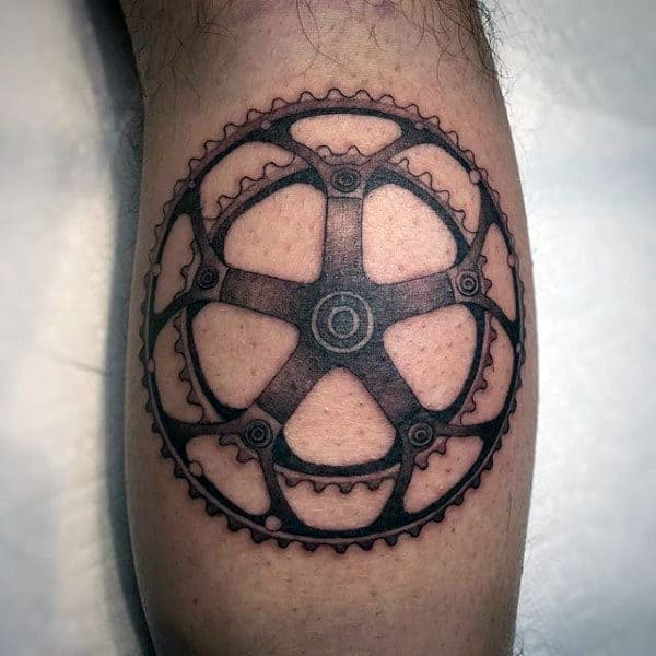 Metallic Bicycle Chain Ring Tattoo On Calves For Men