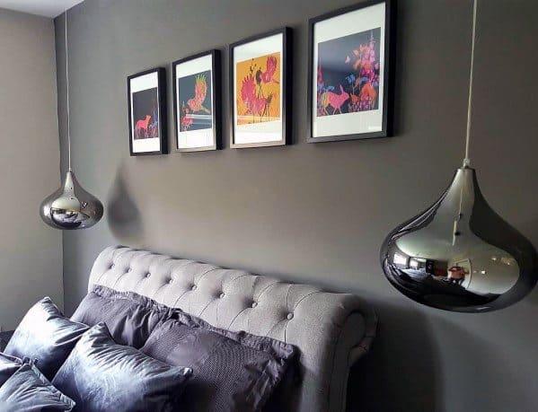 Metallic Curved Glass Pendants Ideas Grey Bedroom Lighting
