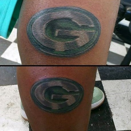 Metallic Green Bay Packers Logo Guys Lower Leg Tattoo