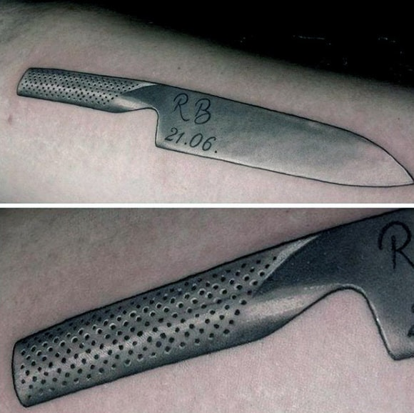 Metallic Guys Chef Knife Tattoo