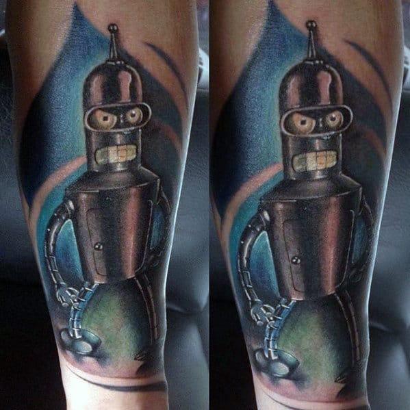 Metallic Guys Shaded Forearm Futurama Bender Tattoo Designs