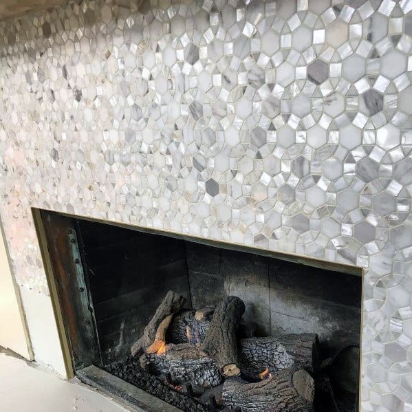 Metallic Home Interior Designs Fireplace Tile