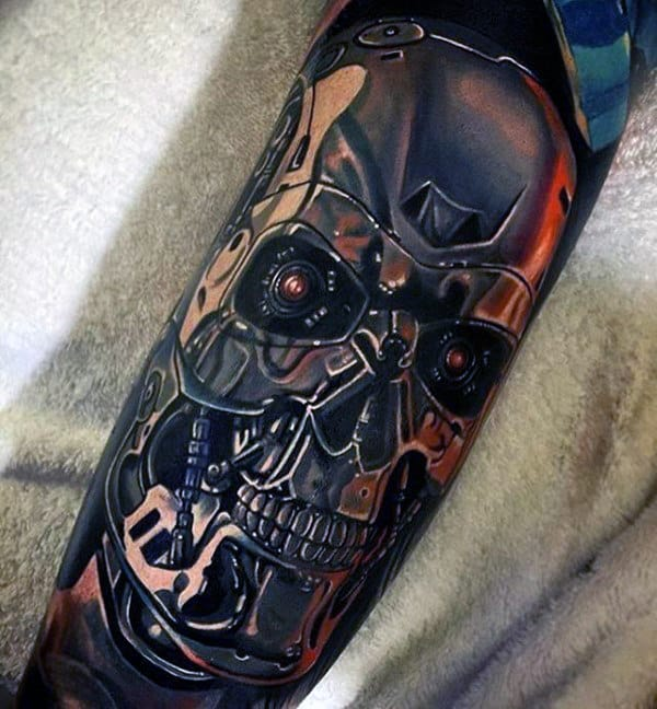 Metallic Mens Terminator Sleeve Tattoos With Realistic Design