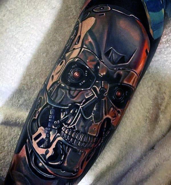 Metallic Mens Terminator Sleeve Tattoos With Realistic Design