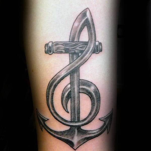 Metallic Shaded Treble Clef Anchor Guys Tattoos