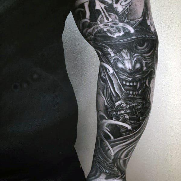 Metallic Viking Japanese Sleeve Tattoo For Guys