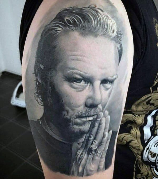Metallica Guys Half Sleeve 3d Realistic Portrait Tattoo Ideas