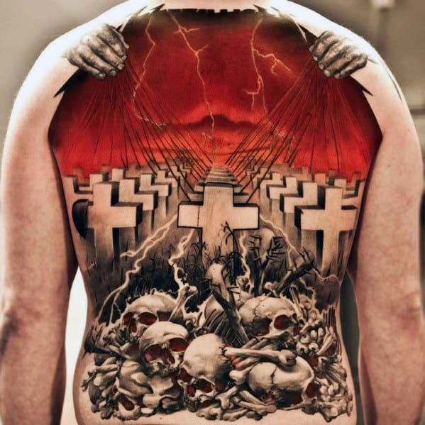 Metallica Themed Full Back 3d Tattoo Ideas For Males