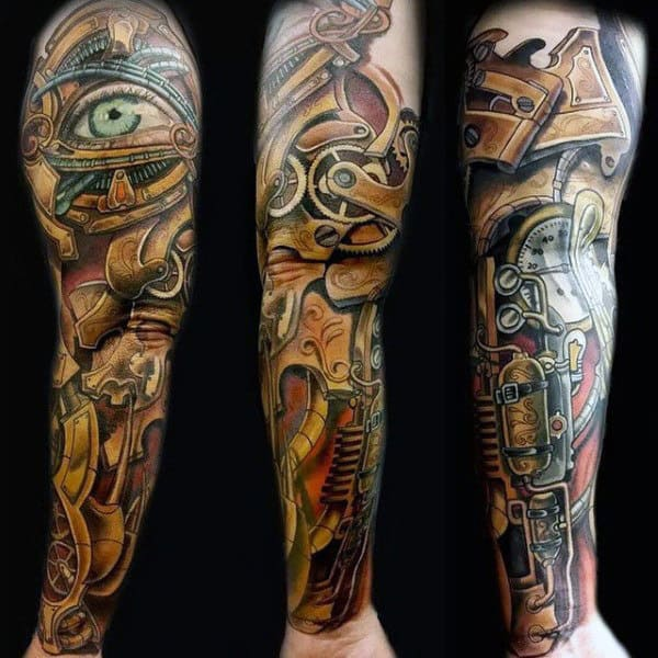 Mettalic Gold And Eye Steampunk Tattoo Guys Full Sleeves