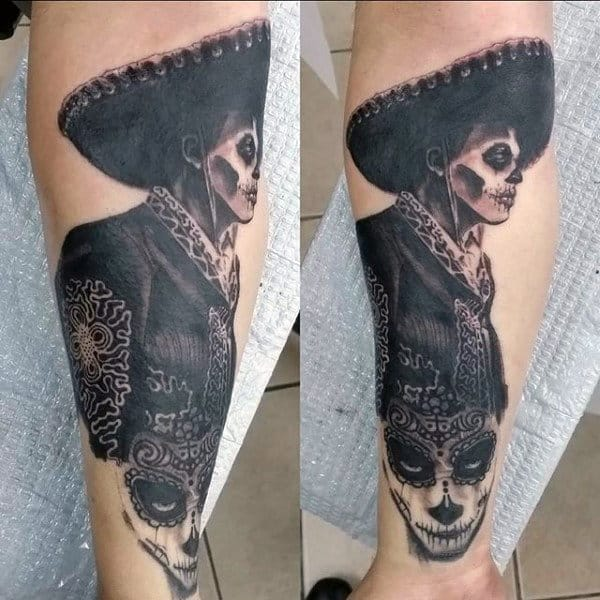 Mexican Day Of The Dead Skull And Woman Tattoo Male Forearms