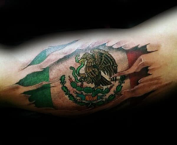 Mexican Eagle Flag Mens Bicep Tattoos With Ripped Skin Design