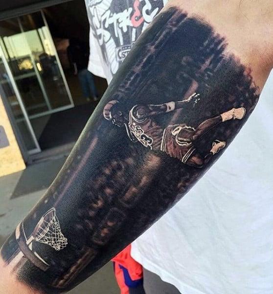 Michael Jordan Basketball Theed Forearm Half Sleeve Male Tattoo Designs