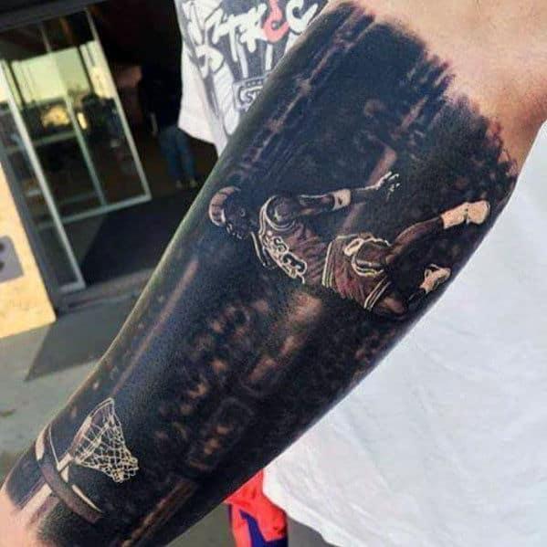 Michael Jordan Dunk Chicago Bulls Mens Outer Forearm 3d Tattoo