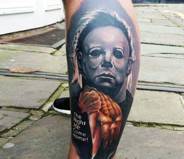Michael Myers Tattoo On Man