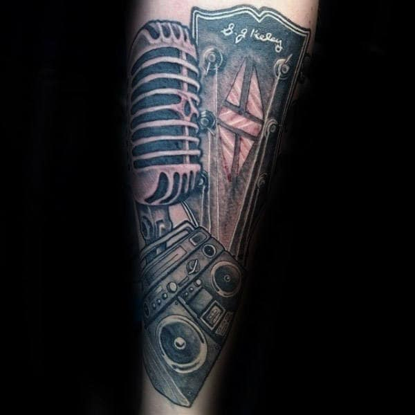 Microphone Boombox Guys Forearm Tattoo