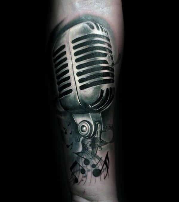 Microphone Music Note Tattoo For Gentlemen On Forearm