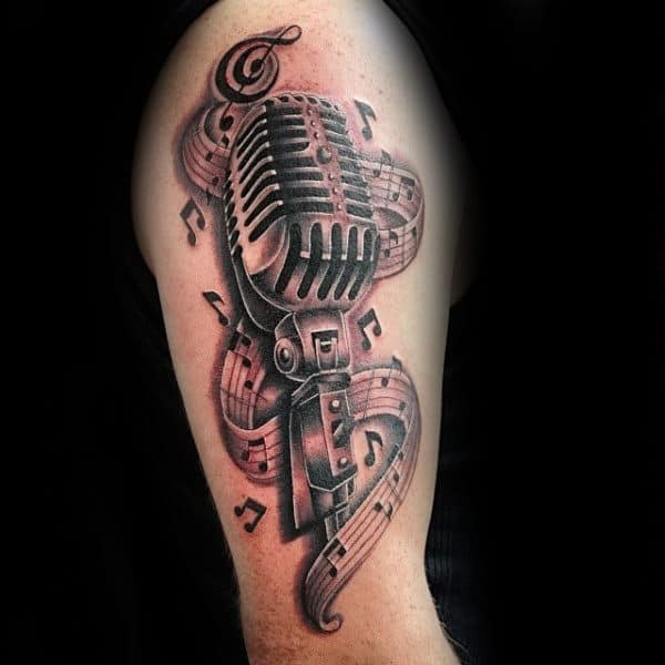 Microphone Music Notes Mens Upper Arm Tattoo Ideas