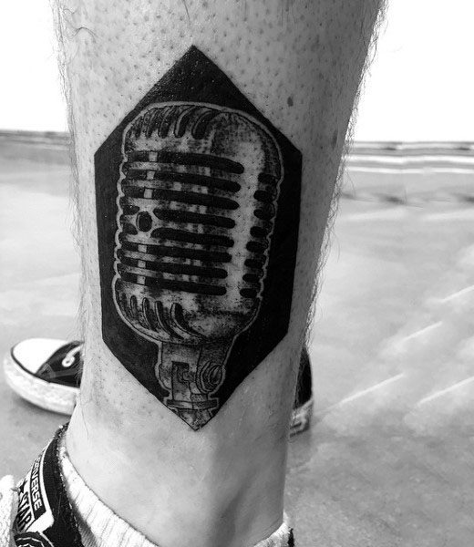 Microphone On Dark Hexagonal Block Tattoo Guys Calves