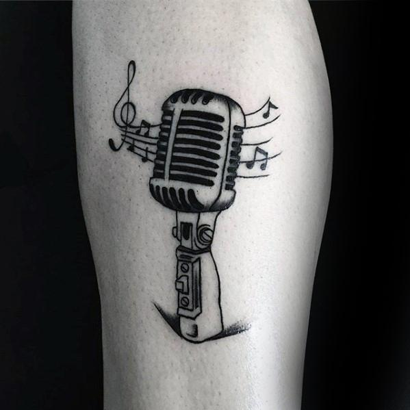 Microphone Simple Music Mens Arm Tattoos