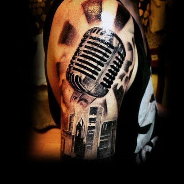 Microphone With Halo And Tatll Buildings Tattoo Guys Arms