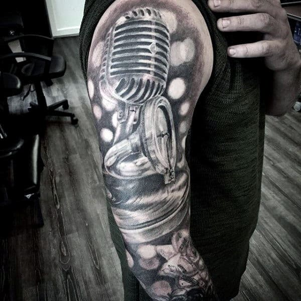 Microphone With Record Player Mens Music Sleeve Tattoos