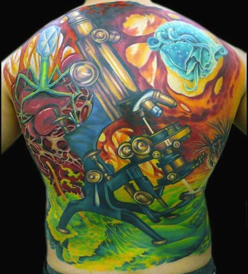 Microscope Mens Science Back Tattoos