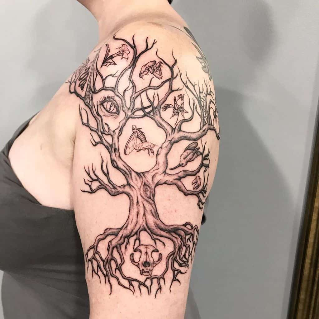 Yggdrasil mid upper arm roots branches tree