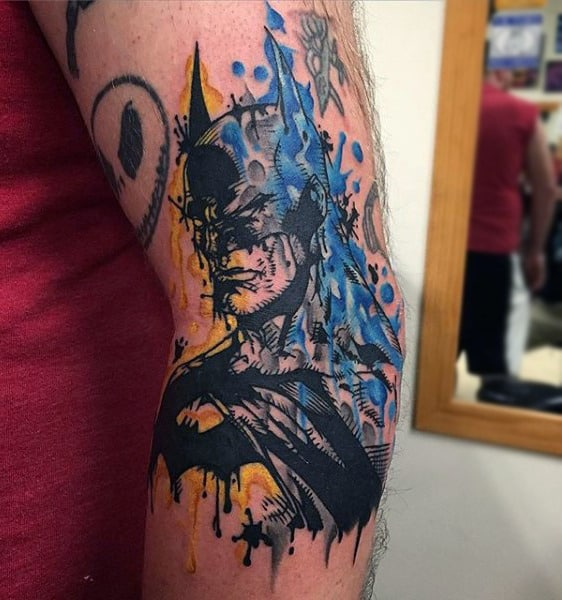 Middle Of Arm Male Watercolor Abstract Batman Tattoos