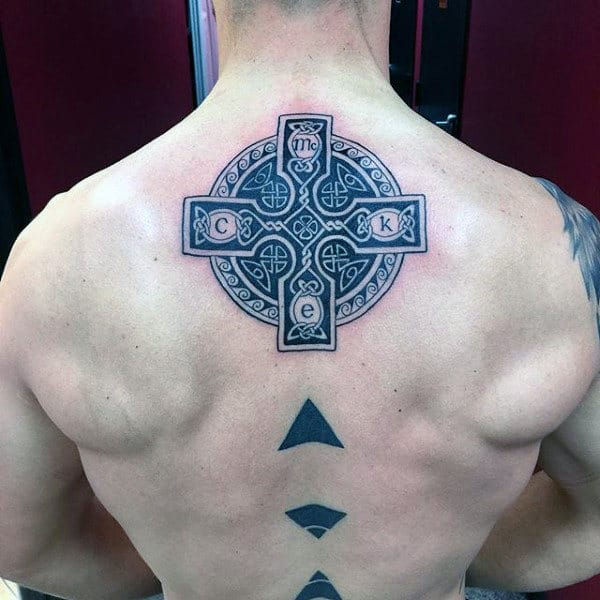 Middle Of Back Detailed Celtic Cross Male Tattoos