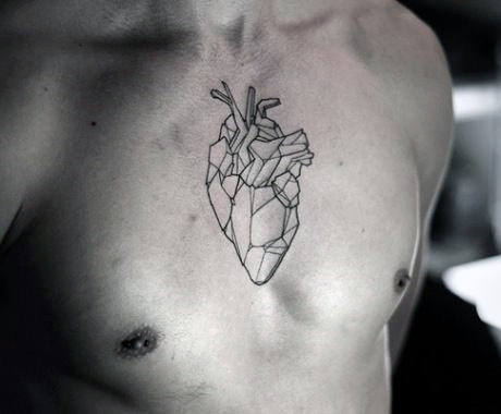 Middle Of Chest Geometric Heart Black Ink Outline Tattoo Ideas For Men