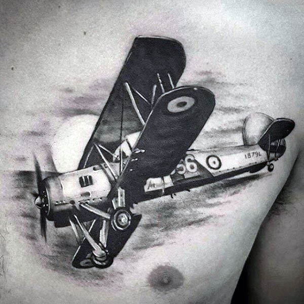 Military Airplane Men's Tattoos On Chest