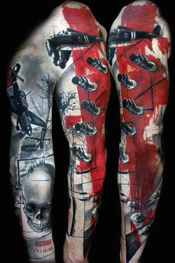 Military Bomber Plane Red Ink Full Sleeve Guys Tattoo With Shaded Skull
