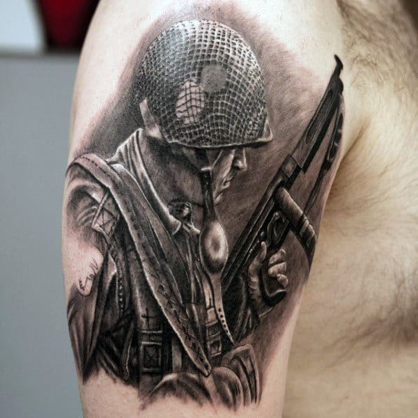 Military Gun And Helmet Tattoos For Men