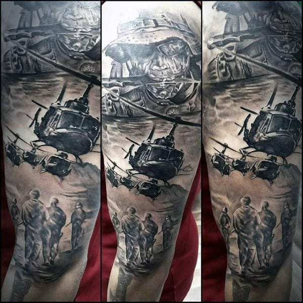 Military Helicopter Soliders Modern Guys Sleev Tattoo